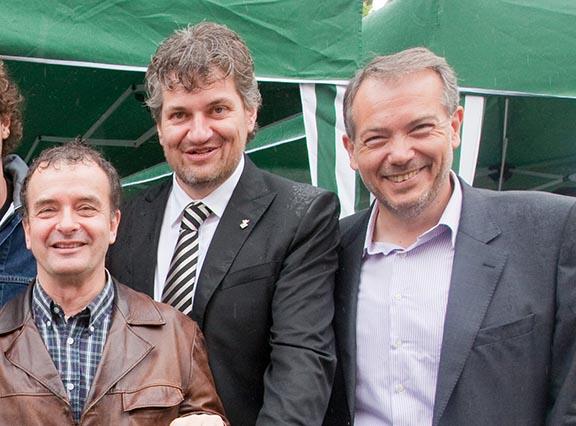 Pere Solé al costat de Francesc Lluch i Alfred Bosch durant la Fira de l'Ou